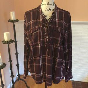 Aqua Plaid Half Lace-up Pullover Shirt